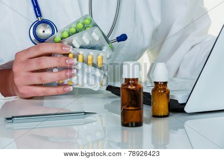 a doctor issues a prescription for medication. prescription pills from the pharmacy.