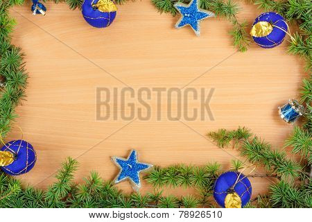 Wonderful Christmas Decoration With Fir Tree And Blue Ornamentals Gifts