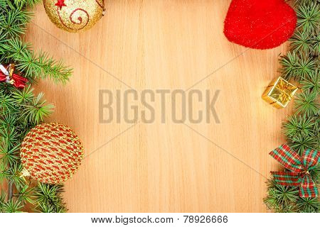 Wonderful Christmas Decoration With Fir Tree And Ornamentals Gifts