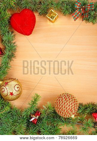 Wonderful Christmas Decoration With Fir Tree And Ornamentals