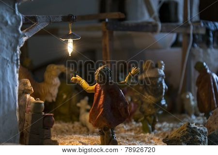 Representation Of The Christmas Nativity Scene With Ceramic Statuettes