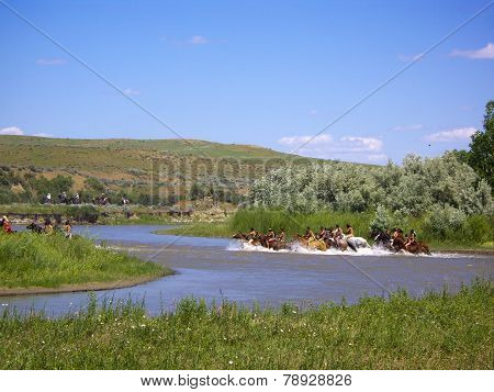 Bareback Indians Forging The Little Bighorn River