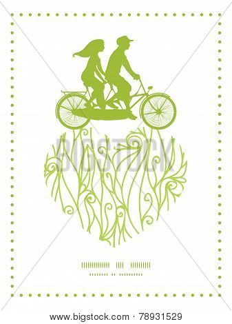 Vector abstract swirls texture couple on tandem bicycle heart silhouette frame pattern greeting card