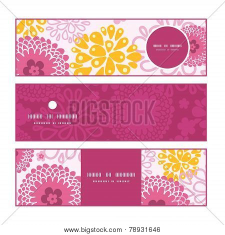 Vector pink field flowers horizontal banners set pattern background