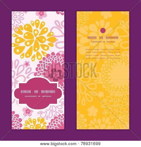 Vector pink field flowers vertical frame pattern invitation greeting cards set