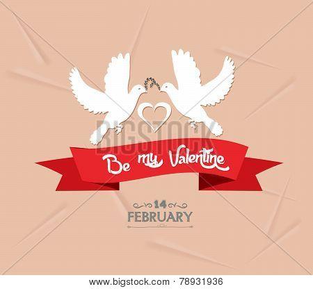 be my valentine with couple bird
