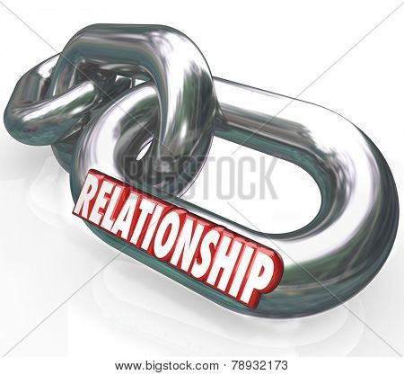 Relationship word in 3d letters on metal chain links to illustrate family relationship, partnership, cooperation or collaboration as working or living together