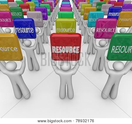 Staff members, workforce or employees lifting tiles with the word Resource to illustrate skills, expertise, knowledge or intelligence needed to get a job or project done at work