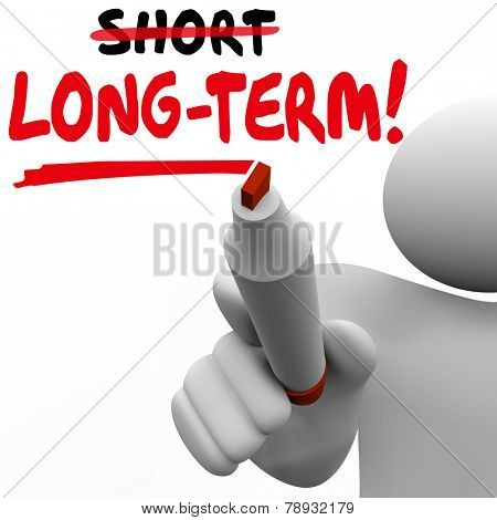 Long Term Vs Short words written on board with marker to illustrate a plan or strategy of waiting or delaying outcome, payoff or results of project or effort