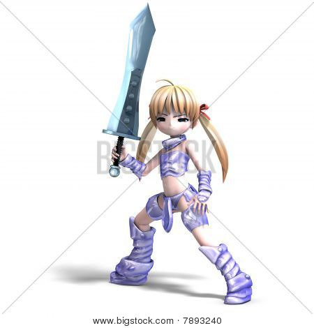female manga paladin with huge sword