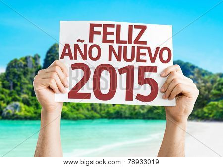 Happy New Year 2015 (In Spanish) card with a beach on background