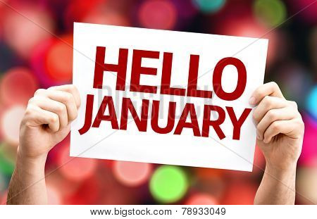 Hello January card with colorful background with defocused lights