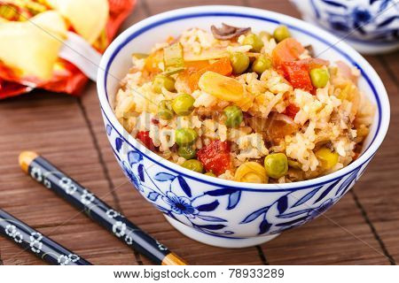 Fried Rice With Vegetables, Eggs And Mushrooms