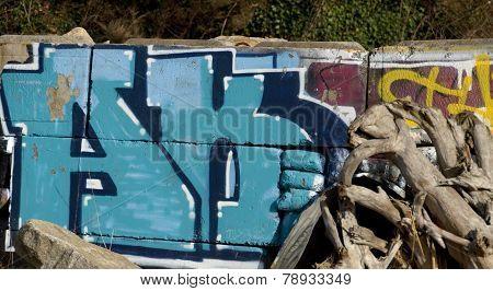 Blue And Yellow Graffiti On A Railroad Retain Wall Near A Beach Park