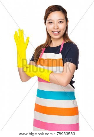 Housewife wear with plastic gloves