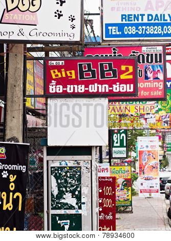 Shop Signs In Pattaya, Thailand