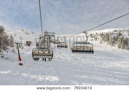 Skilift At Alpine Ski Resort