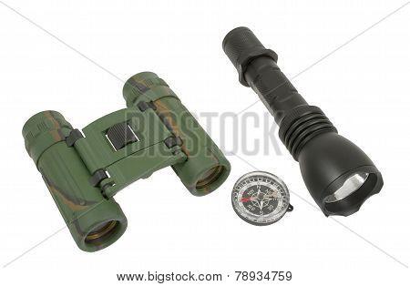 Flashlight, Compass, Binoculars