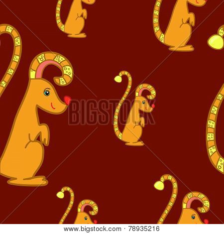 Seamless Pattern With Fantasy Gopher
