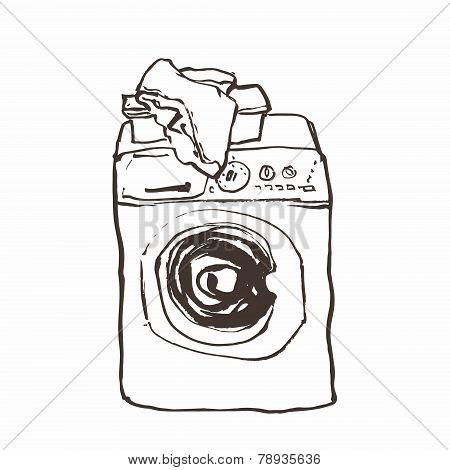 Laundry washing machine hand drawn ink sketch, vector