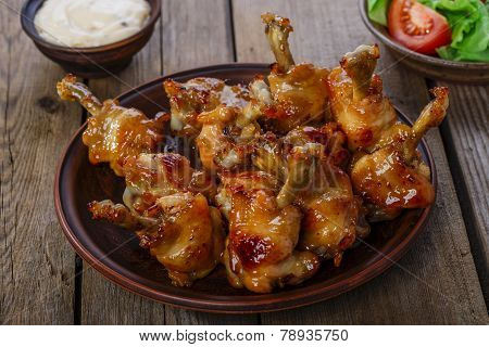 honey glazed chicken wing with sauce