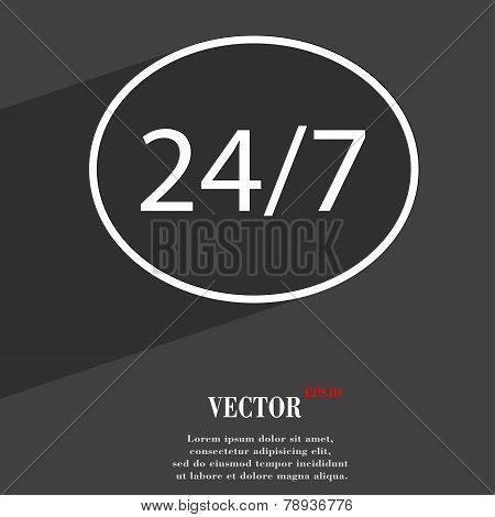24 Hours A Day And 7 Days A Week Icon Symbol Flat Modern Web Design With Long Shadow And Space For Y