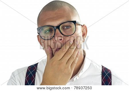 Handsome man thinking with hand on his chin, isolated on white background / Nerdy casual businessman