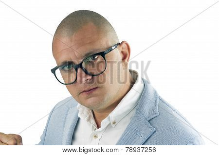 Angry businessman isolated on white