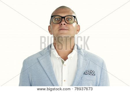 man doing silly face with nerd glasses isolated on white