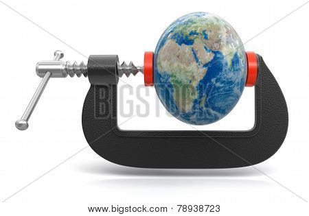 Globe in clamp (clipping path included)
