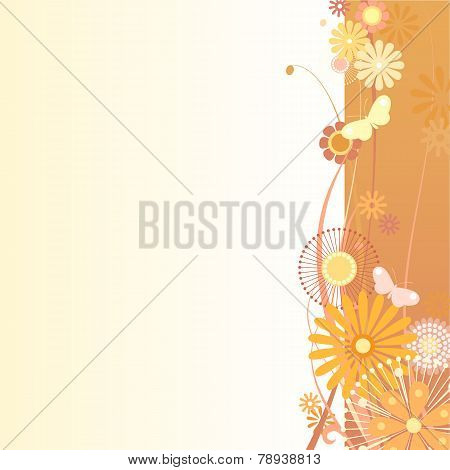 Floral Background In Orange