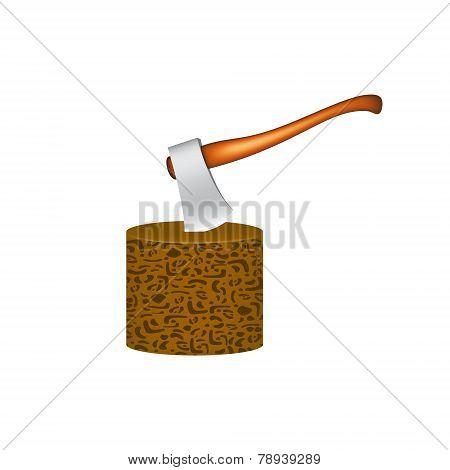 Old axe stuck in wooden block