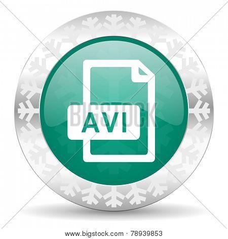 avi file green icon, christmas button