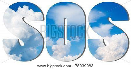 Text Filled With Blue Sky And Big Clouds