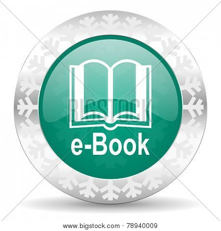 book green icon, christmas button, e-book sign