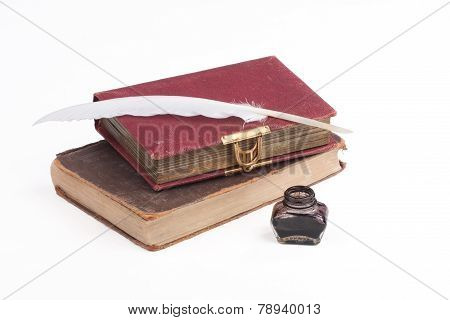 Old Books And Quill Feather