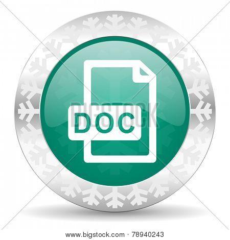 doc file green icon, christmas button