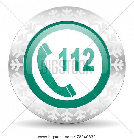 emergency call green icon, christmas button, 112 call sign