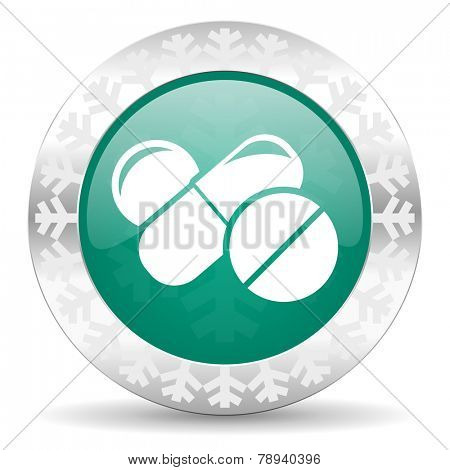 medicine green icon, christmas button, drugs symbol, pills sign