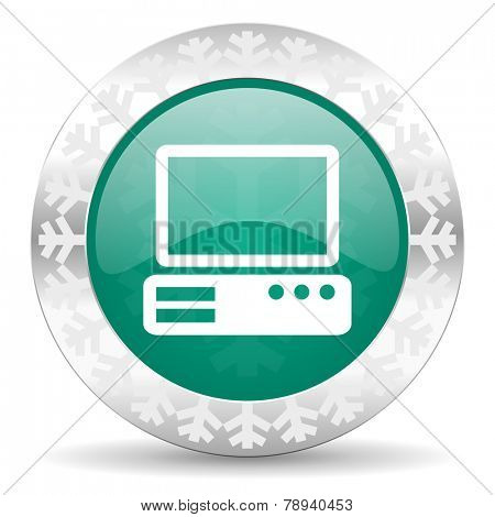 computer green icon, christmas button, pc sign