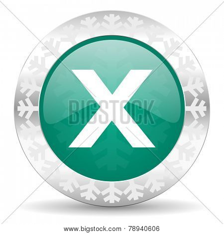 cancel green icon, christmas button