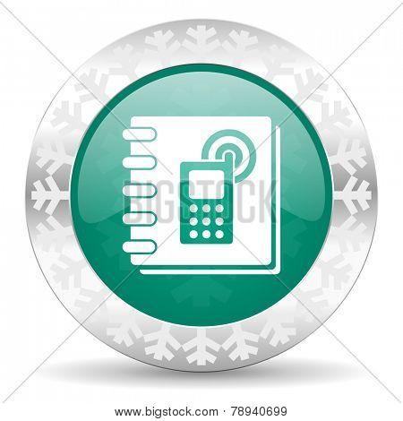 phonebook green icon, christmas button