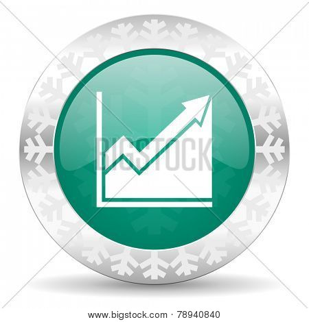 histogram green icon, christmas button, stock sign
