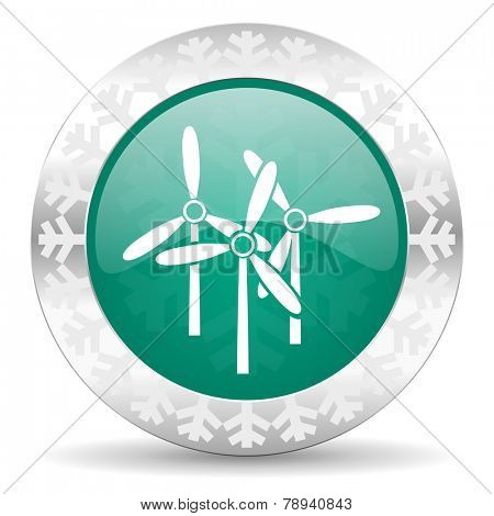 windmill green icon, christmas button, renewable energy sign