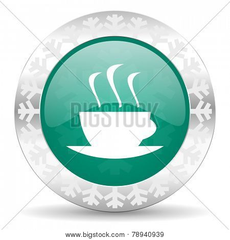 espresso green icon, christmas button, hot cup of caffee sign