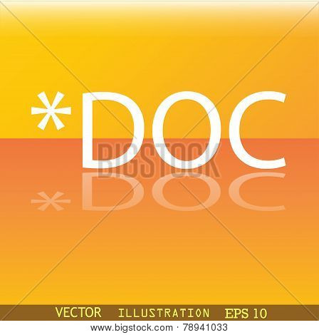 Doc File Extension Icon Symbol Flat Modern Web Design With Reflection And Space For Your Text.