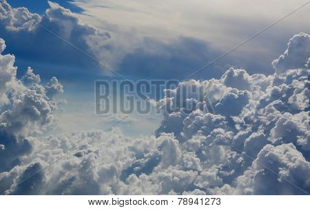 The Blue Sky With Cumulus Clouds.