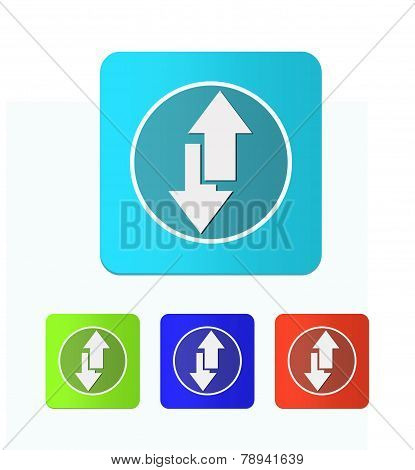 Set Of Colored Icons With Arrows Up And Down