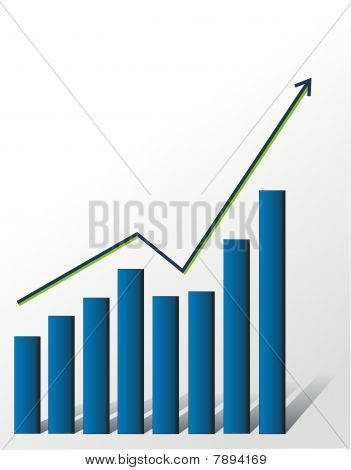 Financial growth chart on white background