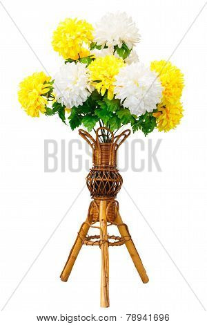Artificial Flowers And Wicker Wooden Vase